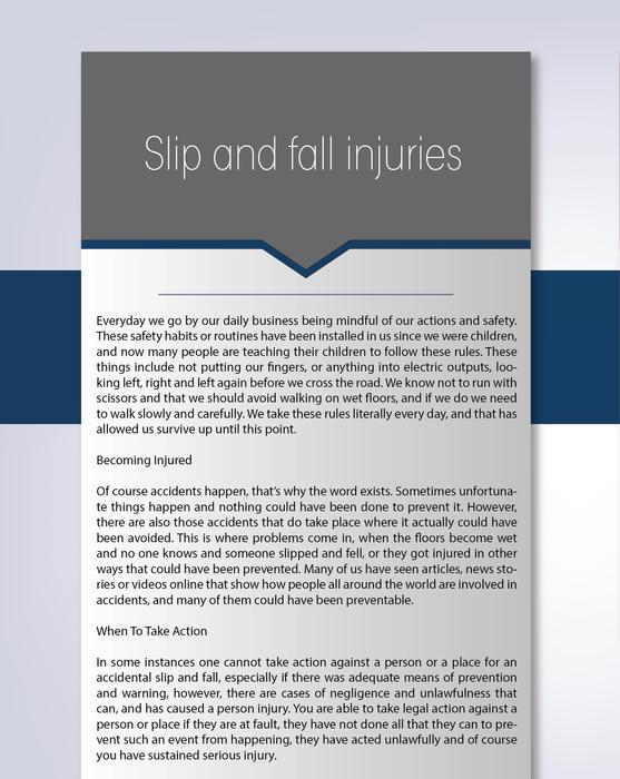 Slip and fall injuries